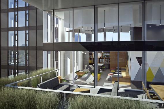 Chaque logement de la tour Fresk aura son balcon. Une grande terrasse marquera aussi le 14<sup>e</sup>étage où sera notamment située une aire commune de type<i> lounge</i>. (Image fournie par Cromwell/Graph Synergie)