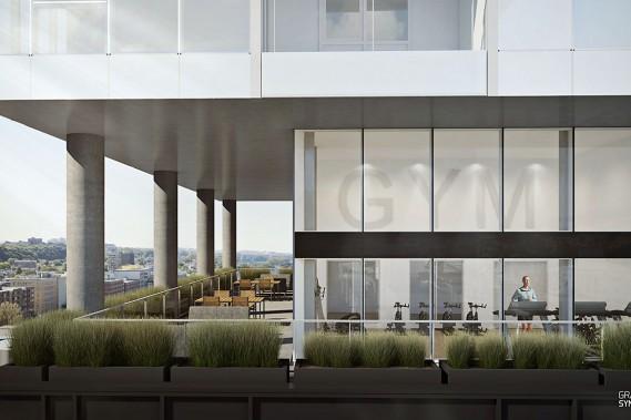 Le 14e étage comportera aussi un gymnase accessible pour les locataires. Aucune unité d'habitation ne sera venue dans l'immeuble aux 169 logements. «Cromwell ne fait jamais de condo», a indiqué Jean Morency, gestionnaire des actifs de la firme montréalaise. Il s'agit, dit-il, d'une décision d'entreprise qu'a toujours prise le promoteur immobilier estimant qu'un immeuble en location est un meilleur «actif à long terme». (Image fournie par Cromwell/Graph Synergie)