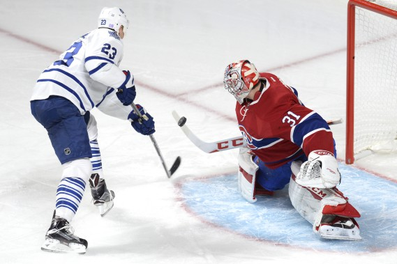 Carey Price bloque un tir de Shawn Matthias. (PHOTO BERNARD BRAULT, LA PRESSE)