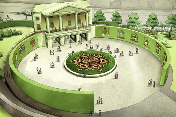 <em>Place de la Confédération</em>, l'une des cinq oeuvres majeures prévues pour les Mosaïcultures internationales de Gatineau, en 2017. La façade fait 13 m (45 pieds) de haut et 30 m (100 pieds) de long. (Courtoisie)