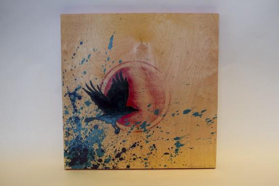 <em>Ton message s'estompe</em>, acrylique sur toile de l'artiste Eruoma Awashish. 825 $ à la boutique de l'Hôtel-Musée Premières Nations (Le Soleil, Caroline Grégoire)