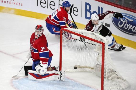 Nathan MacKinnon a marqué deux buts en 13 secondes et a ajouté une mention d'aide. (Photo Robert Skinner, La Presse)