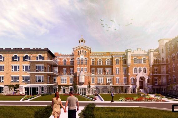 Le promoteur Norplex et CCM2 Architectes proposent 156 condos dans l'ancien couvent des Soeurs de Sainte-Jeanne-d'Arc. Le bâtiment construit en 1918 fait partie de l'ensemble des grands domaines religieux de Sillery classé historique en 1964. (fournie par CCM2 Architectes)