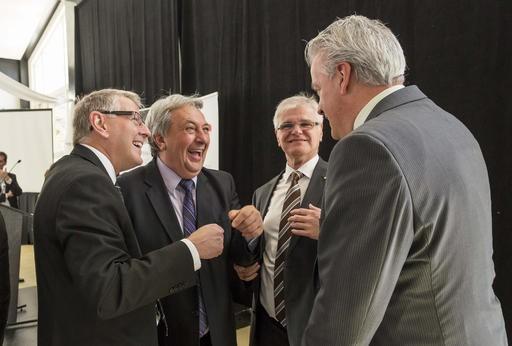 Lors du lancement: Maurice Cloutier, Françis Gagnon, Denis Paré et Bernard Sévigny. ()