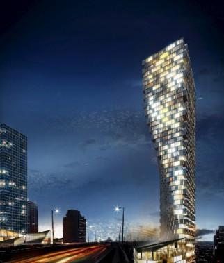 La construction gagnante dans la catégorie Projet du futur est la Vancouver House, imaginée par BIG Bjarke Ingells Group. À sa base se trouve un espace public, alors que les appartements sont au sommet. L'immeuble ressemble à un rideau à moitié ouvert accueillant les visiteurs qui entrent dans la ville. (Fournie par BIG Bjarke Ingells Group)