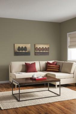 Les couleurs chaudes et organiques, comme la nuance Palo Verde (70YY 26/137 MC48) des peintures CIL, seront très populaires en décoration au cours de la prochaine année, en raison du sentiment de sérénité qu'elles évoquent. (Les peintures CIL)