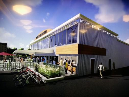 Baptisé «Colisée de Loretteville», le futur bâtiment dévoilé mardi est de forme rectangulaire avec une devanture vitrée et une terrasse donnant sur un stationnement. ()