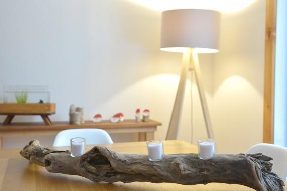 Christophe Perny a transformé ce morceau de bois flotté en chandelier. (Le Soleil, Yan Doublet)