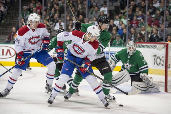 Michael McCarron (34) vivait son baptême de feu dans la Ligue nationale. (Photo Jerome Miron, USA TODAY Sports)
