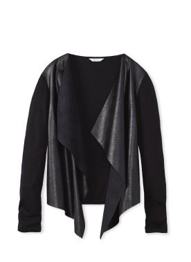 Cardigan en simili-cuir noir, Reitmans ()
