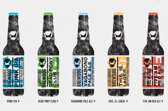 L'écossaise BrewDog décoiffe les amateurs de bière avec ses brassins fortement alcoolisés et houblonnés. Elle a modifié son image en 2014 en adoptant des étiquettes aux couleurs plus vives avec le petit chien noir en guise de logo. Les noms des bières sont rédigés à la verticale. Ici, la série Headliners. (PHOTO FOURNIE PAR BREWDOG)