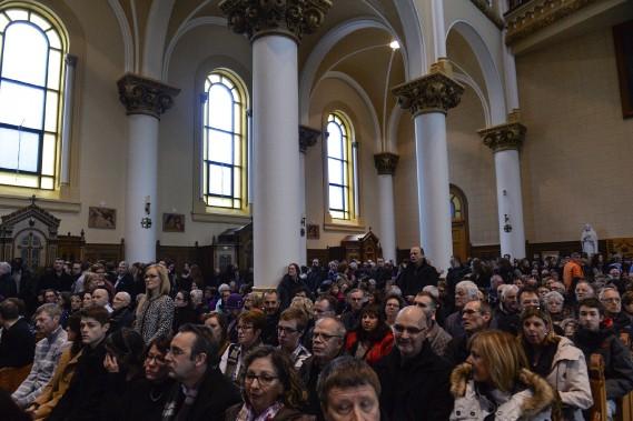 L'église du Très-Saint-Sacrement était bondée. (Le Soleil, Caroline Grégoire)
