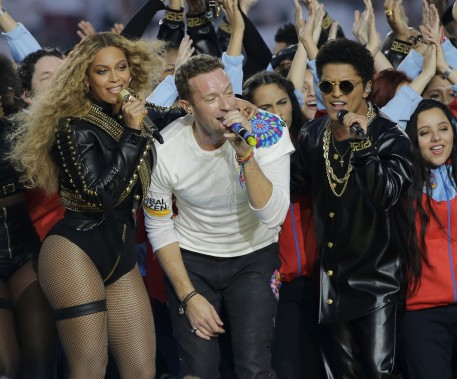 Beyonce, Chris Martin et Bruno Mars (AP, David J. Phillip)