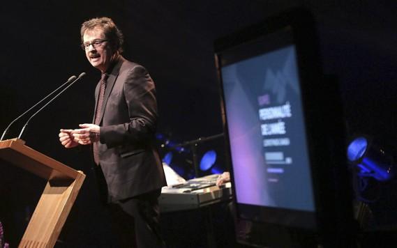 Le président et éditeur du journal<em>LeDroit</em>, Pierre-Paul Noreau, a livré un discours durant le Gala de la personnalité de l'année 2015 LeDroit/Radio-Canada. (Etienne Ranger, LeDroit)