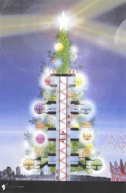 Le Sapin delacapitale mondiale delaneige, unédificede 30étages «décoré» de24salles àmanger enforme deboules deNoël (-)