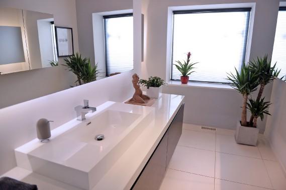 La salle de bain au rez-de-chaussée comprend une douche camouflée qui communique avec le garage. (Le Soleil, Erick Labbé)