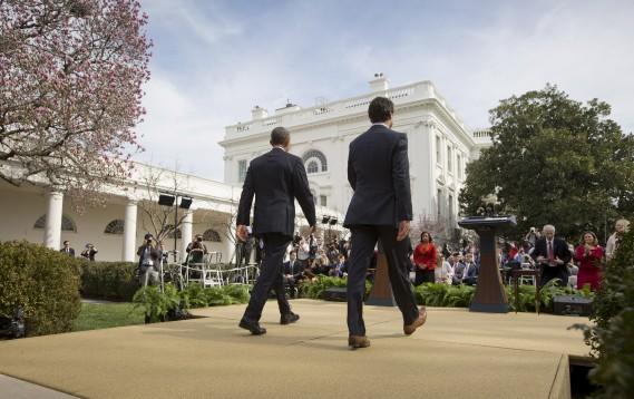 Barack Obama et Justin Trudeau juste avant le début de leur conférence de presse conjointe (AP, Pablo Martinez Monsivais)