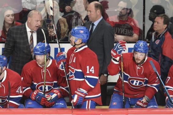 Michel Therrien face à Lars Eller, Tomas Plekanec, Dan Lacroix, Pierre Gervais, Alex Galchenyuk en deuxième période. (Photo Bernard Brault, La Presse)