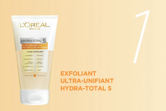 Nettoyez votre visage avec l'exfoliant routine ultra-unifiante Hydra-Total 5. (CRÉDITS PHOTO: L'ORÉAL PARIS)