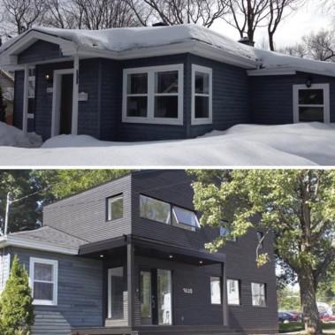 La maison bleue avant et après (Fournie par les propriétaires)
