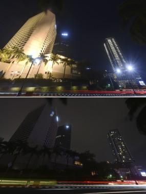 Le quartier commercial de Jakarta plongé dans le noir.Des millions de personnes partout dans le monde ont éteint leurs lumières le 9 mars à l'occasion de l'événement annuel Une heure pour la Terre. (Agence France-Presse)