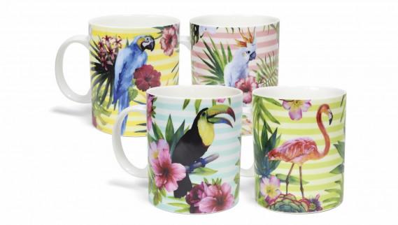 Ensemble de quatre tasses en porcelaine à motifs d'oiseaux exotiques, 24,99 $ chez Clair de lune (Photo fournie par Clair de lune)