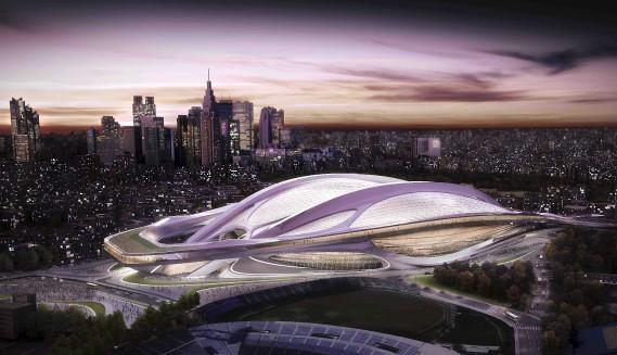Illustration du projet de stade olympique pour les Jeux de Tokyo en 2020, projet finalement retiré en raison de ses coûts (AP)