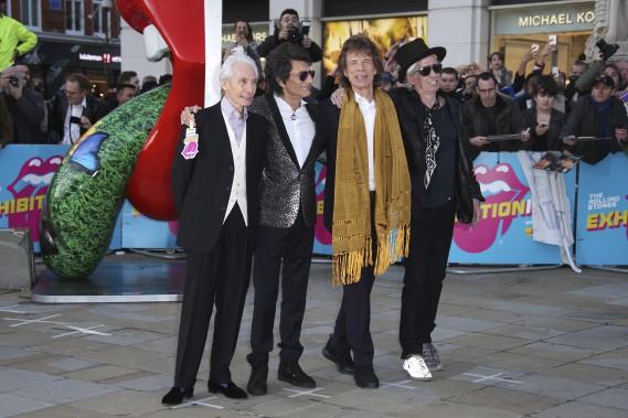 Charlie Watts, Ron Wood, Mick Jagger et Keith Richards au vernissage de l'exposition, lundi à Londres (AP, Joel Ryan)