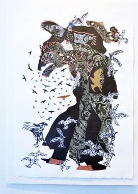 Artiste de l'américanité,RenéDerouinexpose ses poèmes visuels, remplis d'oiseaux tourbillonnants, à la Galerie MichelGuimont. Ici, <em>Rapaces B-11</em> (Le Soleil, Jean-Marie Villeneuve)