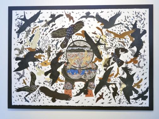 Artiste de l'américanité,RenéDerouinexpose ses poèmes visuels, remplis d'oiseaux tourbillonnants, à la Galerie MichelGuimont. Ici, <em>Rapaces C-4</em> (Le Soleil, Jean-Marie Villeneuve)