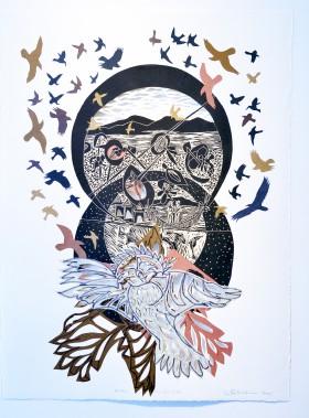 Artiste de l'américanité,RenéDerouinexpose ses poèmes visuels, remplis d'oiseaux tourbillonnants, à la Galerie MichelGuimont. Ici, <em>Rapaces A-6</em> (Le Soleil, Jean-Marie Villeneuve)