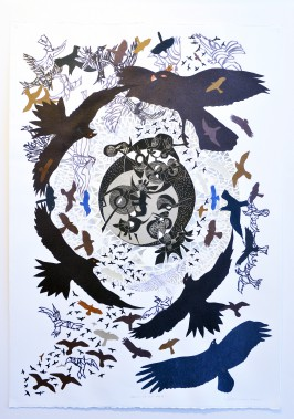 Artiste de l'américanité,RenéDerouinexpose ses poèmes visuels, remplis d'oiseaux tourbillonnants, à la Galerie MichelGuimont. Ici, <em>Rapaces B-7</em> (Le Soleil, Jean-Marie Villeneuve)