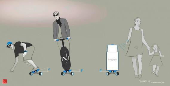 Le longboard Audi peut aussi servir de chariot post-magasinage autonome pour ramener les emplettes à l'auto. (Photo : Audi)