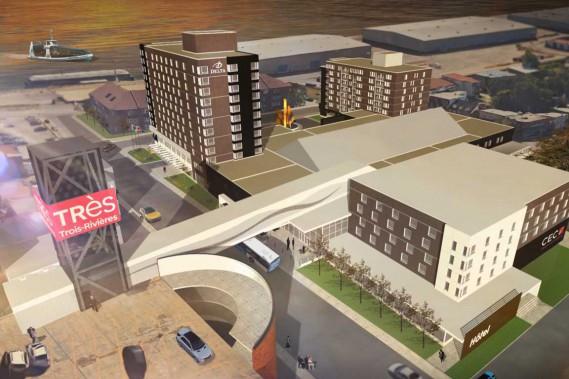 Un deuxième hôtel de 80 chambres fera son apparition sur le site du CECI et ce, sous une bannière reconnue et dans un style urbain et inspiré. Le futur complexe sera doté d'une salle de 1600 places, d'un grand hall, d'une salle de bal de 7000 pieds carrés et d'une passerelle vers le stationnement Badeaux. (Stéphane Lessard, Le Nouvelliste)