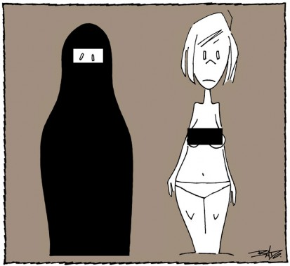 Caricature publiée le23 mai 1997. Les femmes obtiennent le droit de se promener seins nus en Ontario. (Bado, LeDroit)