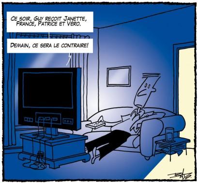 Caricature publiée le24 septembre 2005. Les mêmes vedettes s'invitent tour à tour dans leurs émissions de variétés. (Bado, LeDroit)