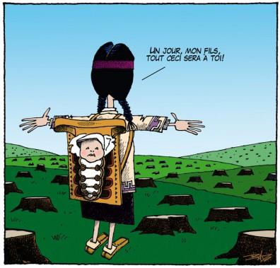 Caricature publiée le 22 septembre 1988, alors que des autochtones occupent l'île Victoria. (Bado, LeDroit)