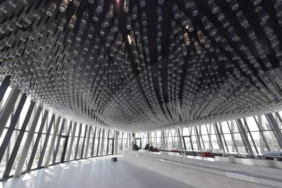 La Cité du vin de Bordeauxsera inaugurée mardi le 31 maipar le président français François Hollande, avant d'ouvrir ses portes mercredi au public. (AFP, Georges Gobet)