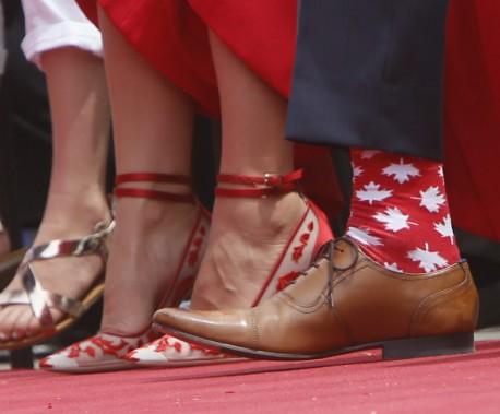 Les chaussettes du premier ministre du Canada, Justin Trudeau. (Simon Séguin-Bertrand, LeDroit)
