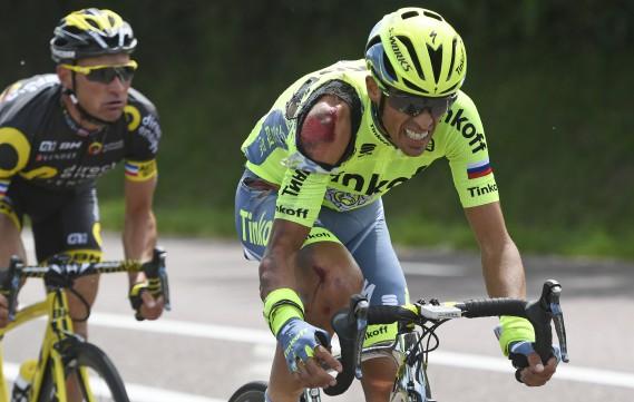 Dure journée pour l'Espagnol Alberto Contador. (AP, Jerome Prevost)