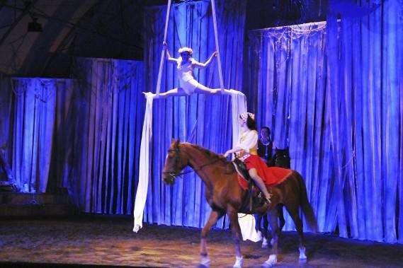 <em>Les Filles de la Forêt</em> est issu d'un mélange de théâtre, de crique et d'art équestre. (Photo Le Quotidien, Mariane L. St-Gelais)