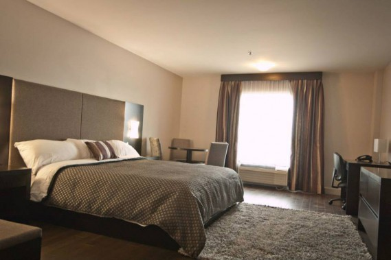 L'Hôtel de la Boréalie de Saint-Félicien, construite en 2013, possède un décor chic et moderne. En plus de ses 56 chambres, incluant suites et chambres de luxe, cet établissement offre deux terrasses, dont une sur le toit, qui offre une vue magnifique de la rivière Ashuapmushuan. (Crédit photo: www.hoteldelaborealie.com)
