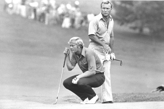 Arnold Palmer (à droite) et Jack Nicklaus en 1972. (Photo archives AP)