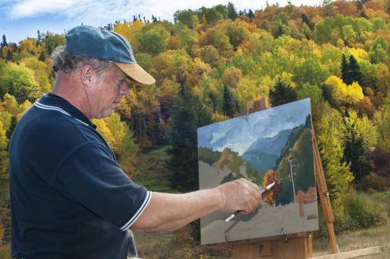Les artistes qui participent au symposium provincial des Villages en couleurs ont droit à un paysage inspirant. Dès que l'occasion se présente, Gilles McLean va peindre au coeur de la nature. (Photo Le Quotidien, Michel Tremblay)