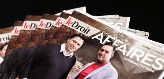 La Une du premier numéro du magazine LeDroit Affaires, publié mercredi, met entre autres en vedette les propriétaires du Groupe Nordik, Martin Paquette et Daniel Gingras. (Etienne Ranger, LeDroit)
