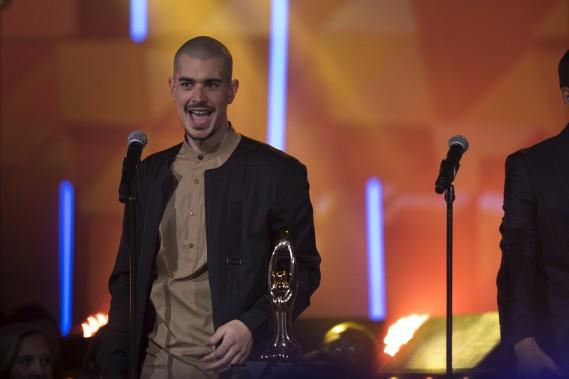 Le résident de Limoilou Koriass est reparti jeudi avec le trophée du meilleur album hip-hop pour<i>Love suprême</i>(aussi récompensé pour sa pochette au gala de l'industrie). (La Presse, Olivier Jean)