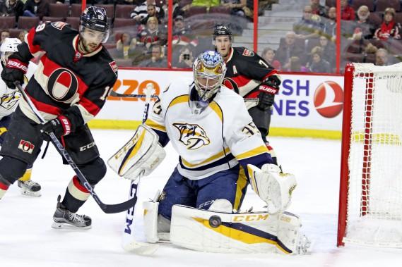 Pekka Rinne a réalisé 30 arrêts jeudi soir. (Patrick Woodbury, Le Droit)