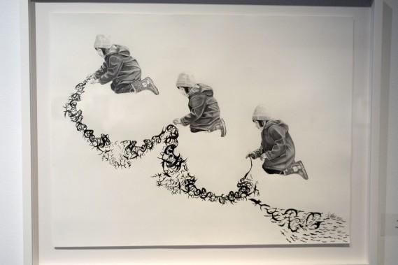 Testament regroupe une quinzaine de dessins de l'artiste ainsi qu'une vidéo de plus de sept minutes dans la Salle Les Amis du CNE. Dès le premier regard, le visiteur note l'importance du temps et la présence de l'enfance dans le travail de Stéphanie Chalut. (Photo Le Progrès-Dimanche, Jeannot Lévesque)