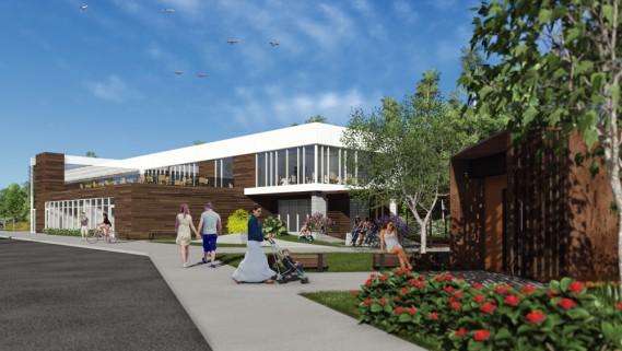 Restaurant et centre de services Phase 1 (A3 architecture et Steve Girard Designer)