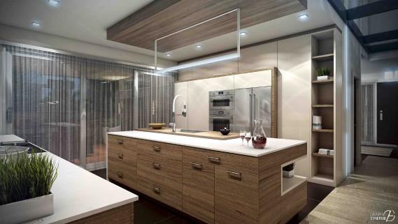 La cuisine, à l'instar des autres pièces, affiche des lignes contemporaines que le bois réchauffe. (Fournie par Graph Synergie)